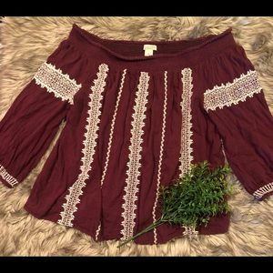 Burgundy Blouse! By Lucky Brand